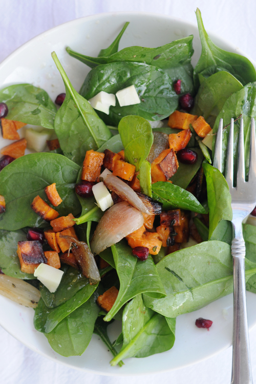 Spinach-salad-roasted-sweet-potatoes-lemon-vinaigrette
