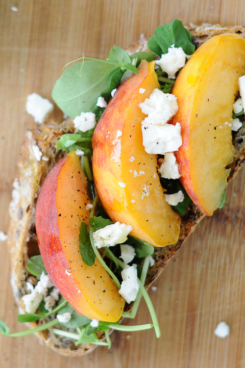 Peach-peashoots-feta-tartine